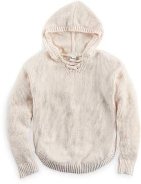 Mudd Girls Plus Size Lace-Up Chenille Sweater Hoodie