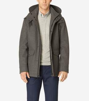 Cole Haan Men's Waterproof Wool Jacket with Removable Hood, Faux Shearling Lining, Ironstone, X-Large