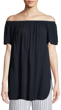 Allen Allen Gauze Off-The-Shoulder Tunic Blouse