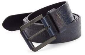 Emporio Armani Stamped Logo Leather Belt