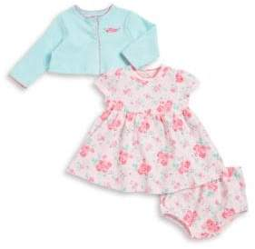 Little Me Baby Girl's Three-Piece Rose Cotton Jacket, Dress, and Bottom Set