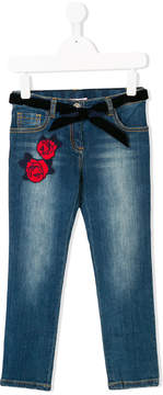Miss Blumarine rose appliquéd denim jeans