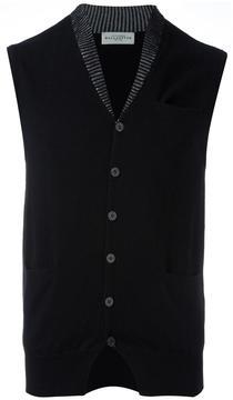 Ballantyne contrast neck cardigan vest