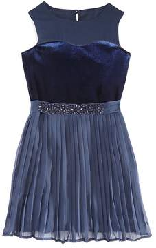 Armani Junior Girls' Chiffon & Velvet Party Dress - Little Kid, Big Kid