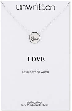 Unwritten Love Engraved Disc Pendant Necklace in Sterling Silver