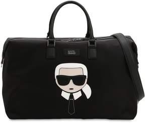 Karl Lagerfeld K/Ikonik Patch Nylon Weekender Bag