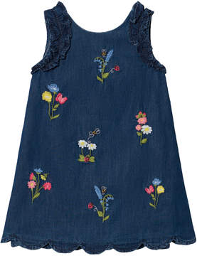 Mayoral Blue Denim Floral Embroidered Dress