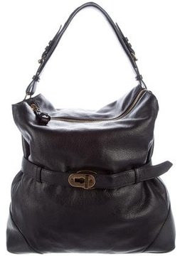 Burberry Large Grainy Leather Hobo - BLACK - STYLE