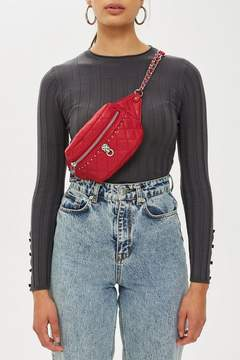 Topshop Red Quilted Panther Bum Bag