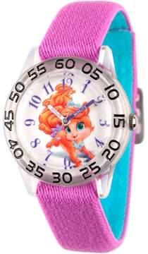 Disney Palace Pet Treasure Girls' Clear Plastic Time Teacher Watch, Reversible Purple and Blue Nylon Strap