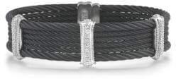 Alor Noir Cable Stainless Steel and 18K White Gold Multi-Strand Bracelet