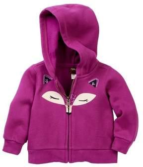 Tea Collection Fox Face Zip Hoodie (Baby Girls)