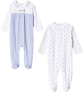 Mayoral Pack of 2 Blue and White Sailor Boat Babygrows