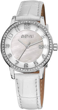 August Steiner Womens White Strap Watch-As-8056wt