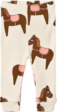 Mini Rodini Beige and Pink Horse Leggings