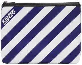 Kenzo Blue and White Striped A4 Logo Pouch