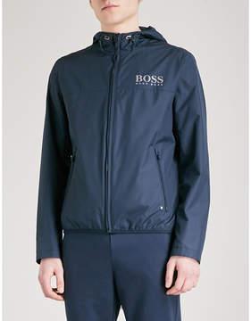BOSS GREEN Logo-print hooded shell jacket