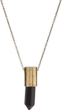 Carole Jet Black & Goldtone Stone Pendant Necklace