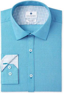 Ryan Seacrest Distinction Men's Slim-Fit Stretch Non-Iron Teal Print Dress Shirt, Created for Macy's