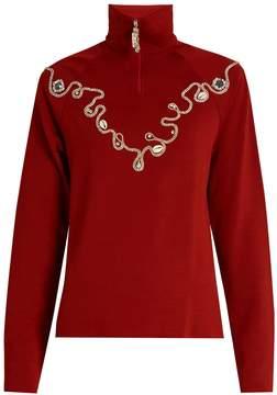 Wales Bonner Karim embellished wool-blend top