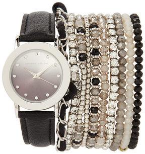 Adrienne Vittadini ADST1711 Silver-Tone & Black Watch & Bracelet Set