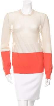 Celine Sheer-Paneled Two-Tone Sweater