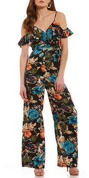 Band of Gypsies Peony Floral Cold Shoulder Jumpsuit