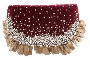 Oscar de la Renta Feather-Trimmed Evening Bag