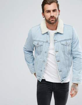 Asos Fleece Lined Denim Jacket In Light Wash