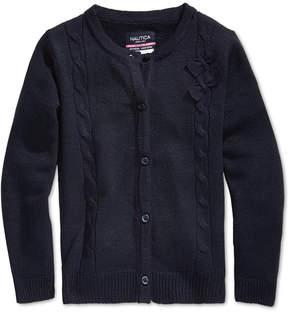 Nautica School Uniform Cable-Knit Bow Cardigan, Little Girls (4-6X)