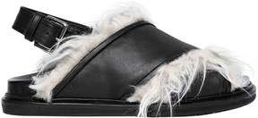 Marni 30mm Faux Fur & Leather Sandals