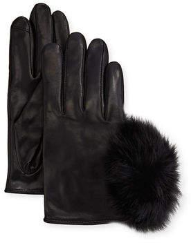 Neiman Marcus Metisse Leather Fur Pompom Short Smart Gloves