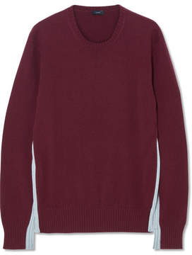 Joseph Paneled Two-tone Cashmere Sweater - Burgundy