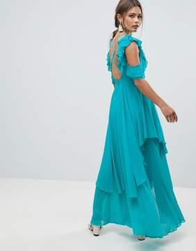 Asos Ruffle Sleeve Cut Out Back Maxi Dress