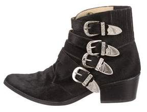 Toga Pulla Pointed-Toe Ponyhair Ankle Boots