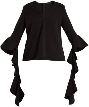 Ellery Ace V-neck deconstructed-sleeved crepe top