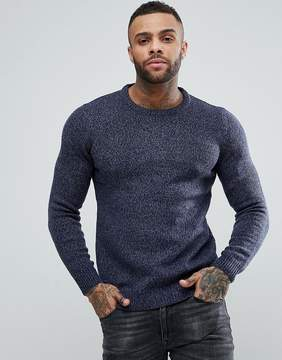 Pull&Bear Knitted Sweater In Blue Marl