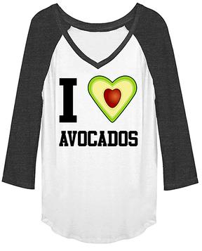 Fifth Sun White & Charcoal Heather 'I Love Avocados' Raglan Tee
