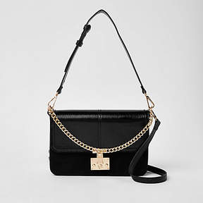 River Island Black lock front chain underarm bag