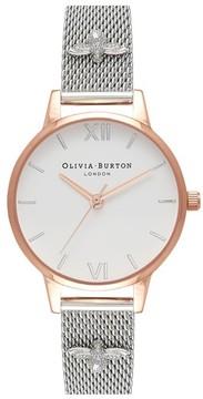 Olivia Burton Women's 3D Bee Mesh Strap Watch, 30Mm