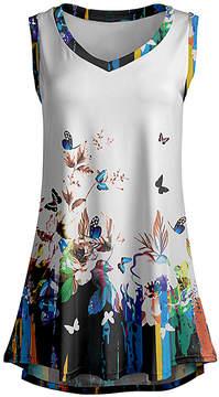 Lily White & Blue Butterfly Sleeveless Tunic - Women & Plus