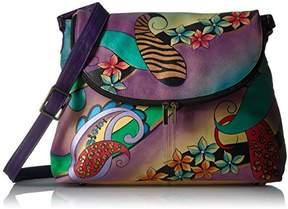 Anuschka Anna by Women's Genuine Leather Large Flap-Over Handbag | Cross-Body Organizer |Paisley Collage Eggplant