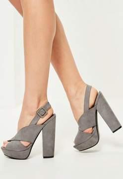 Missguided Grey Cross Strap Platform Heeled Sandals