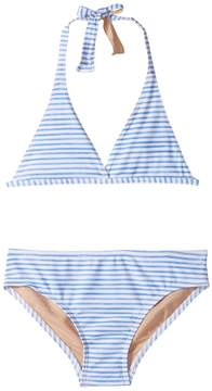 Toobydoo Blue Watercolor Stripe Bikini (Infant/Toddler/Little Kids/Big Kids)