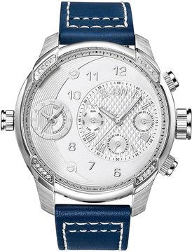 JBW G3 Mens Diamond-Accent Blue Leather Strap Watch J6325A
