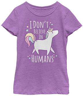 Fifth Sun Purple 'I Don't Believe in Humans' Tee - Girls