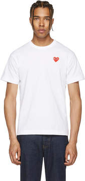 Comme des Garcons White and Red Heart Patch T-Shirt