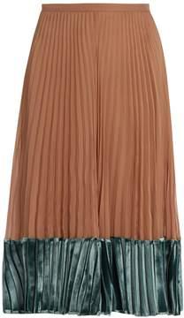 Valentino Velvet-panel pleated silk-georgette midi skirt