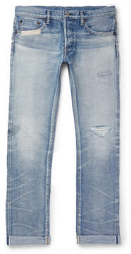 Co Fabric-Brand & Slim-Fit Distressed Selvedge Denim Jeans