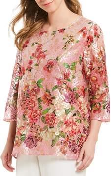 Caroline Rose Shimmer Lace Floral Print Blouse